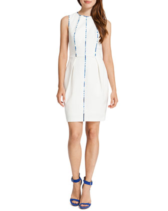 Carter Sleeveless Prism-Front Sheath Dress