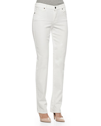 Faith Straight-Leg Jeans, Optic White