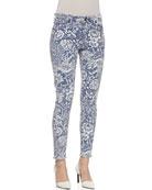 Wisdom Floral Pattern Skinny Ankle Jeans, Slate/White