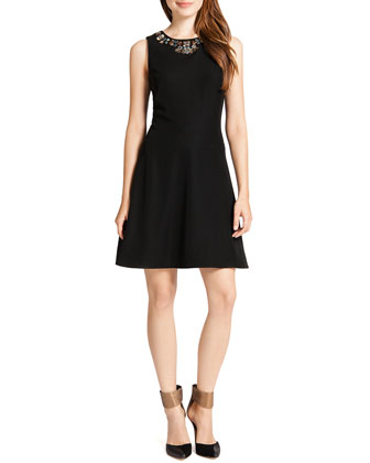 Mallory Sleeveless Embellished-Neck Dress, Black/Multicolor