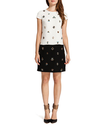 Tori Cap-Sleeve Contrast Embellished-Front Dress, Cream/Black