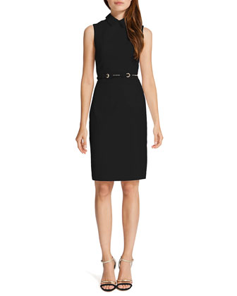 Chrissy Sleeveless Belted Shirtdress, Rich Black