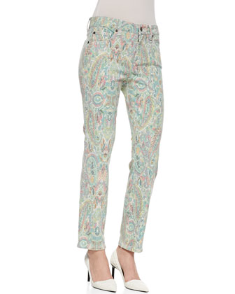 Sandra Cropped Paisley Print Jeans, Multicolor