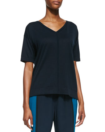 Short-Sleeve V-Neck Pullover