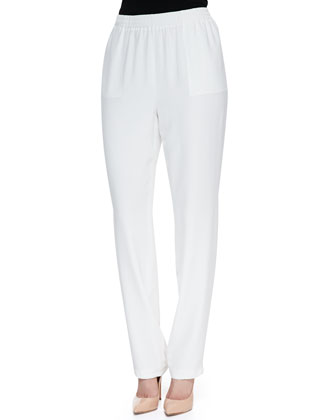 Relaxed-Fit Silk Pants, White