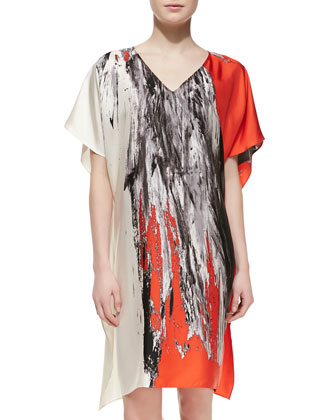 Tinago-Print Short Caftan, Orange