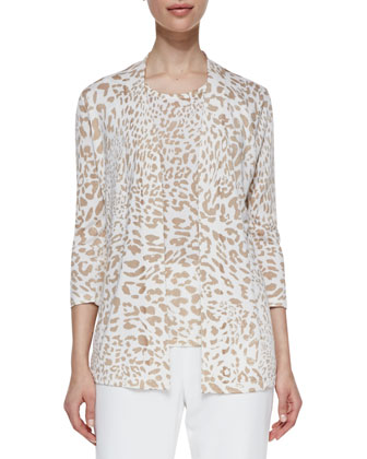 Open-Front Animal-Print Cardigan