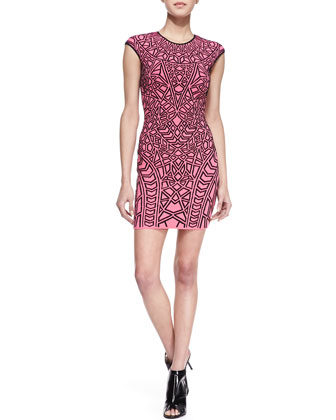 Fitted Jacquard-Print Dress, Pink