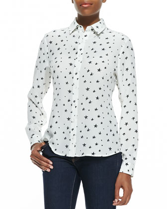 Star-Print Button-Front Shirt