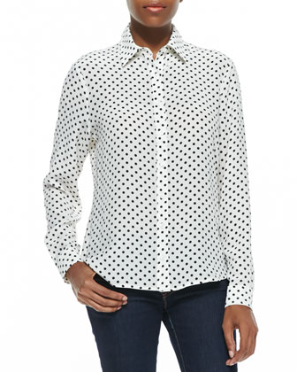 Dots-Print Button-Front Silk Shirt