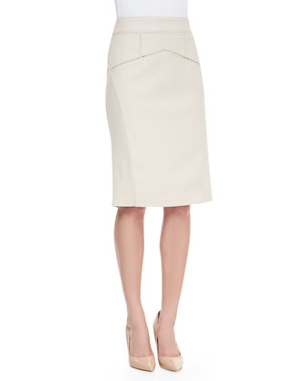 3/4-Sleeve Cowl-Neck Top & Pencil Skirt with Faux-Leather Cutout