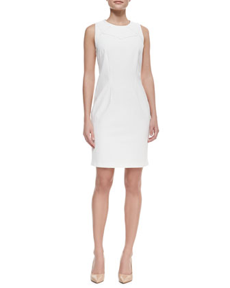 Sleeveless Geometric-Top Sheath Dress