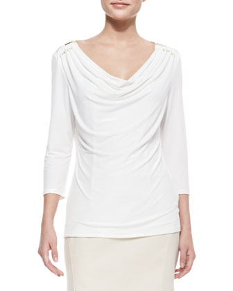3/4-Sleeve Cowl-Neck Top, Ivory