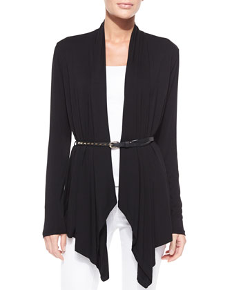 Open-Front Cardigan With Golden Studded Belt