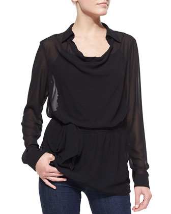 Cowl-Neck Long-Sleeve Tunic