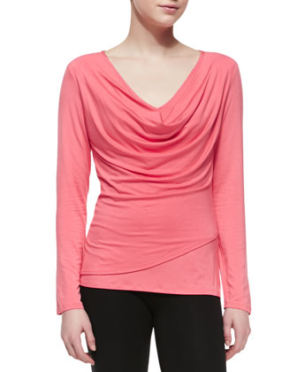 Isla Long-Sleeve Jersey Top, Coral Punch