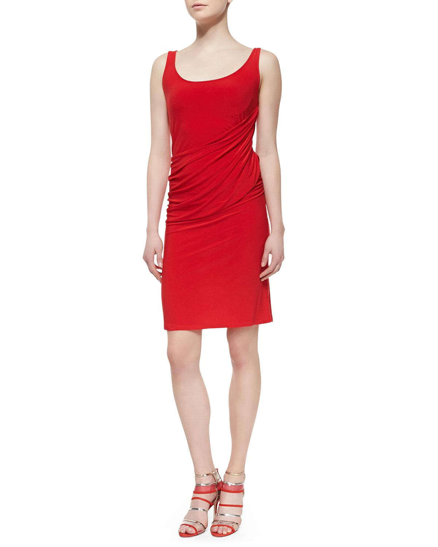 Womens Sleeveless Draped Jersey Dress, Chili   Natori   Chilli (X LARGE)