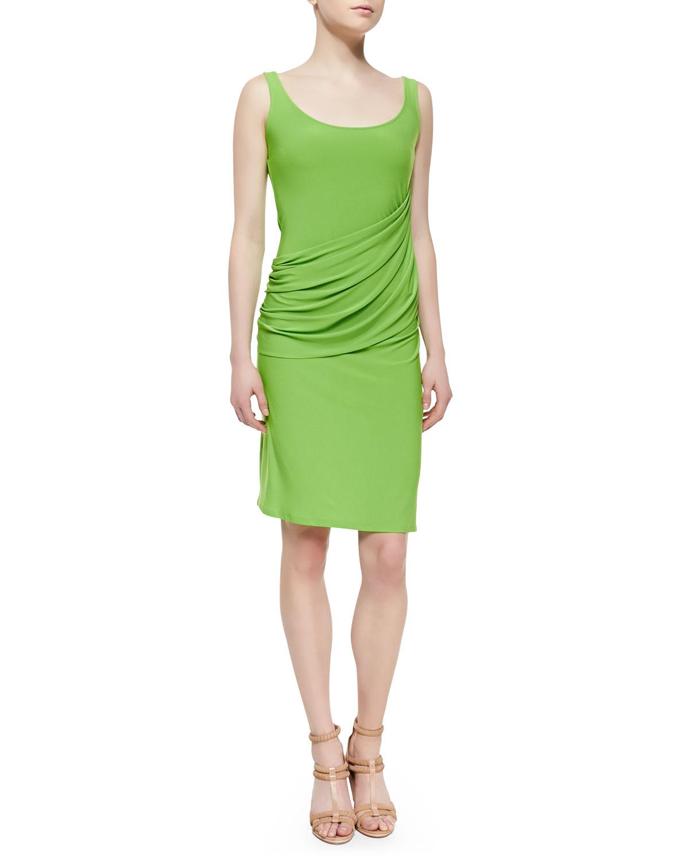 Womens Sleeveless Draped Jersey Dress, Rainforest   Natori   Rainforest