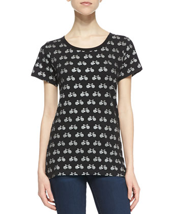 Sonny Slub Bicycle Print Tee, Black/Gray
