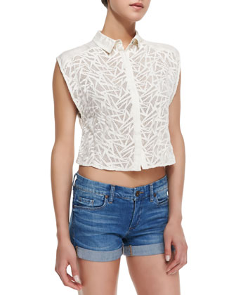 Keaton Shatter Crochet Knit Top, White