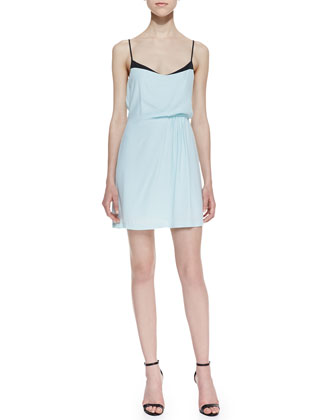 Bromley Side-Gathered Tank Dress, Light Blue