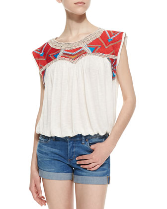 Chevron Embroidered Disco Tee, Snow Combo