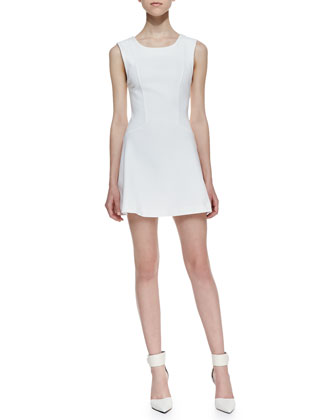 Cha Cha Ponte Mini Dress, White