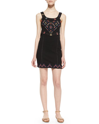 Chevron Embroidered Sheath Dress, Black