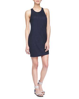 Demere Cutout Racerback Combo Dress, Navy/Gray