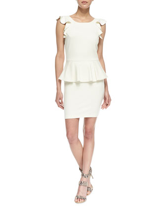Ruffle-Sleeve Peplum Ponte Dress, Ivory