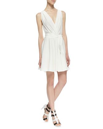 Sleeveless Self-Tie Silk Flare Dress, Ivory