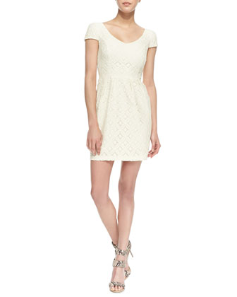 Cap-Sleeve Floral Lace Dress, Ivory