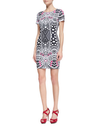 Venus Geometric Print Scuba Dress, Pink