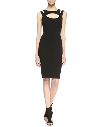 Elva Cutout Sheath Dress, Black