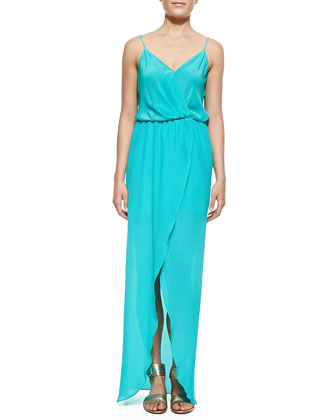 Draped Tulip Silk Maxi Dress, Mint