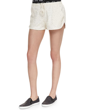 Floral Crochet Track Shorts, Ivory