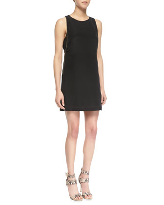 Zipper Embellished Crepe De Chine Dress, Black