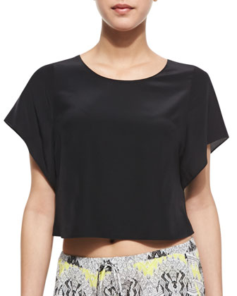 Flutter Silk Crop Top, Black
