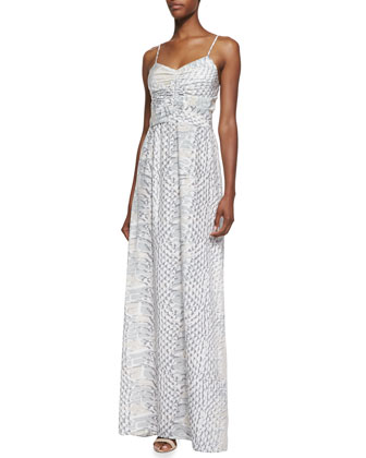 Beverly Ruched-Front Python Print Maxi Dress