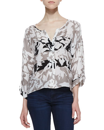 Maureen Sanibel Island Print Top, Taupe/Black