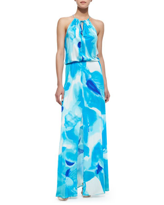 Madera Watercolor Print Halter Maxi Dress, Poolside Blue