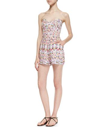 Sutton Strapless Geometric Print Jump Suit, Pink