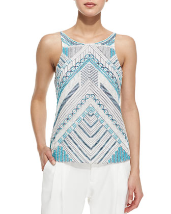 Marcy Beaded Chevron Top, Blue/White