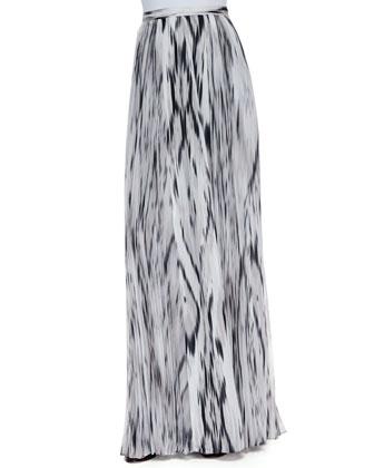 Topanga Streak Print Maxi Skirt, Black/White