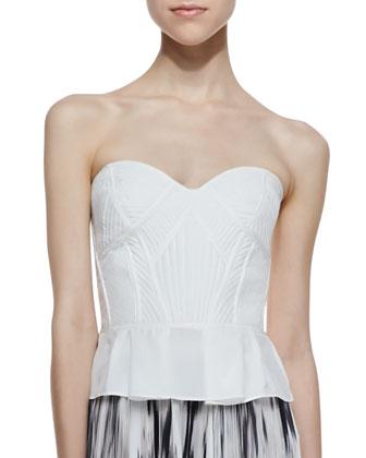 Penelope Strapless Peplum Top, White