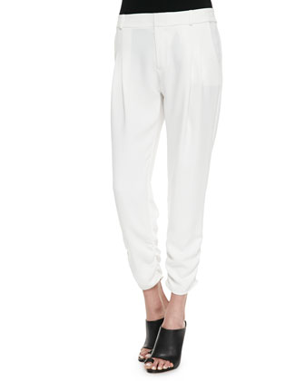 Devlin Ruched Ankle Pants, White