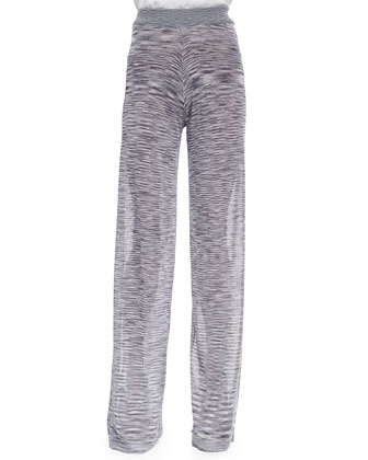 Hera Slub Knit Wide-Leg Pants, Dove Gray