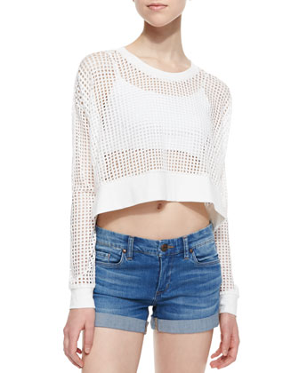 Long-Sleeve Mesh Strands Crop Top, White