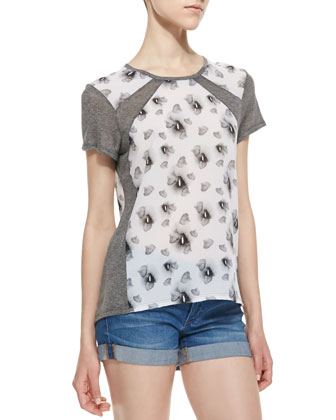 Flower Print Crepe Combo Top, Gray/White