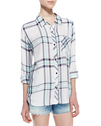 Hunter Long-Sleeve Oversized Plaid Top, White/Navy/Mint